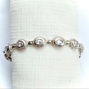 💠 Vintage Genuine Sterling White Topaz Bracelet